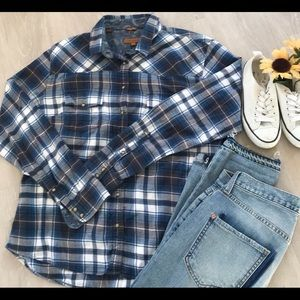 JACHS GIRLFRIEND BEA  roll sleeve flannel shirt